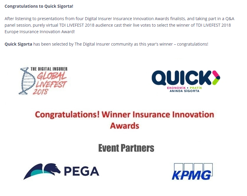 The Digital Insurer 2018 Tebrik Quick Sigorta